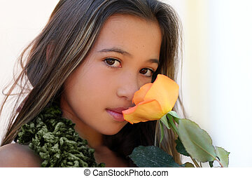 Girl with a rose - Asian girl with a rose