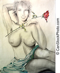 girl with a rose in hand. pencil drawing