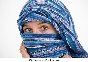 girl with a scarf around the head