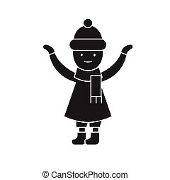 Girl with a scarf in winter black vector concept icon. Girl with a scarf in winter flat illustration, sign