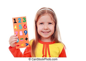 Girl with a set of digits