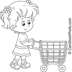 Girl with a shopping trolley - Little buyer going with a ...