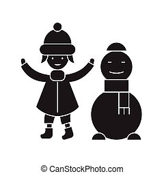Girl with a snowman black vector concept icon. Girl with a snowman flat illustration, sign