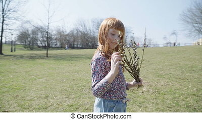 girl with a spring bunch