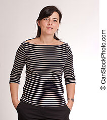 Girl with a stripped t-shirt