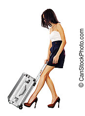 girl with a suitcase