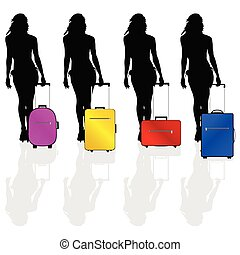 girl with a suitcase vector