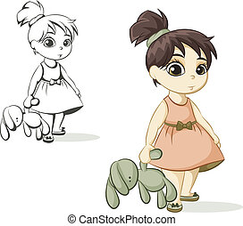 girl with a toy bunny