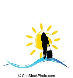 girl with a travel bag with sun and sea illustration