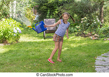 girl with a watering can