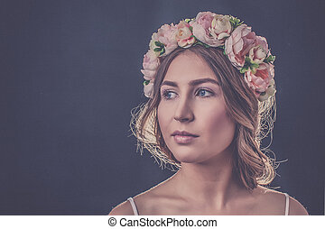 Girl with a wreath on his head