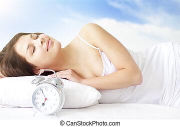 Girl with Alarm Clock