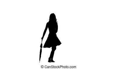 Girl with an umbrella in her hands is dancing. White background. Silhouette