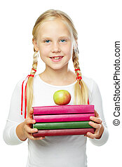 Girl with apple and books