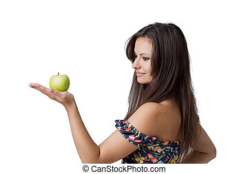 Girl with apple isolated on white background