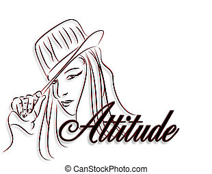 Simple line illustration of girl wearing hat with 3D text, Attitude, for logo or clip art