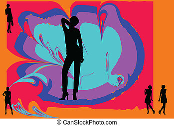 girl with background - vector