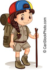 Girl with backpack and walking stick illustration