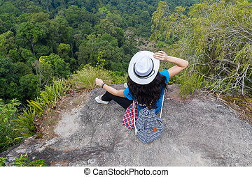 Girl With Backpack Enjoy Beautiful Landscape Back Rear View, Young Woman Tourist