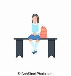 Girl with Bag Sitting on Bench Vector Illustration - Girl...