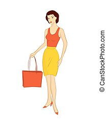 girl with bag - vector illustration