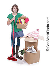Girl with baggage for house moving isolated on white