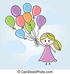 Girl with balloons and clouds