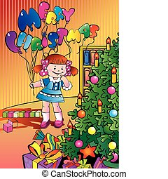 Girl with balloons and gifts.