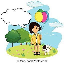 Girl with balloons and her pet dog