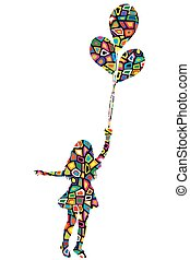Girl with balloons in colorful pattern texture