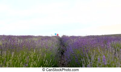Girl with balloons in the lavender field.