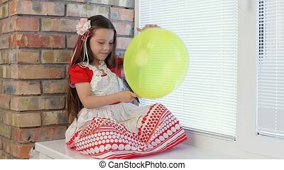 Girl With Balloons in the Window