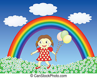 girl with balloons on a lawn