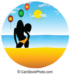 girl with balloons on the paradise beach vector illustration