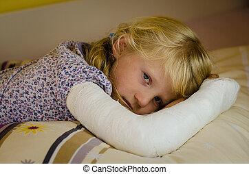 girl with bandage