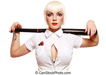 Beautiful young girl with baseball bat on white background