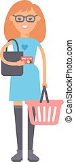 Girl with basket vector illustration.