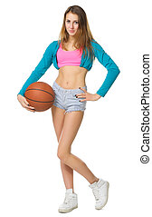 Girl with basketball ball