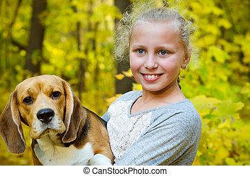 girl with beagle