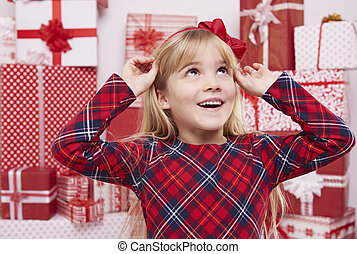 Girl with beautiful red bow