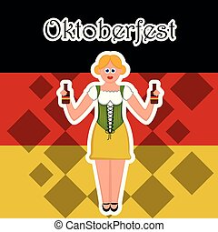 Girl with beer bottles on a flag of Germany