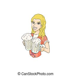 Girl with beer icon, cartoon style