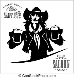 Girl with beer in a cowboy fashion.