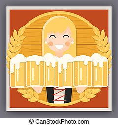 Girl with Beer Mug Oktoberfest Poster Festival Celebration Symbol Flat Design Vector Illustration