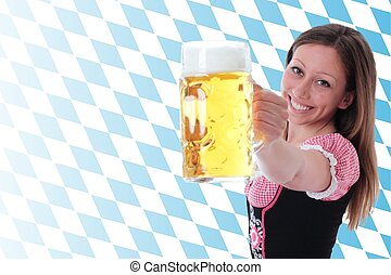 Girl with beer pint and diamond pattern horizontal
