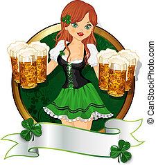 Girl with beer St. Patrick's Day - Waitress dressed in green...
