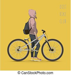 Girl with bicycle.