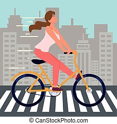 girl with bicycle on crosswalk