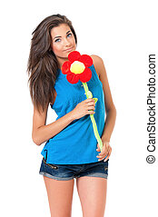 Girl with big flower