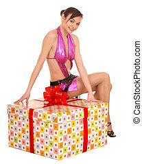 Girl with big gift box.